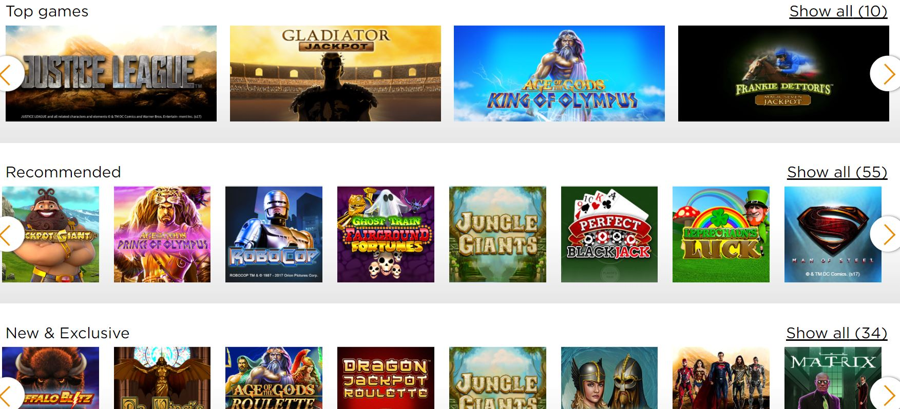 game selection casino.com