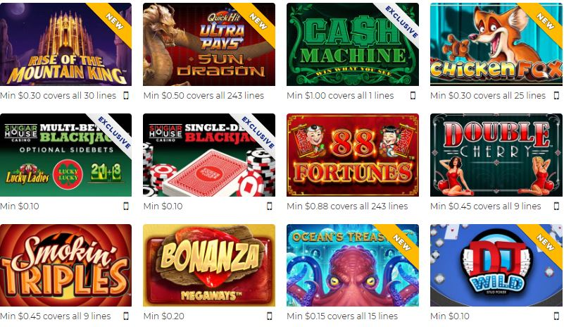 sugarhouse casino games